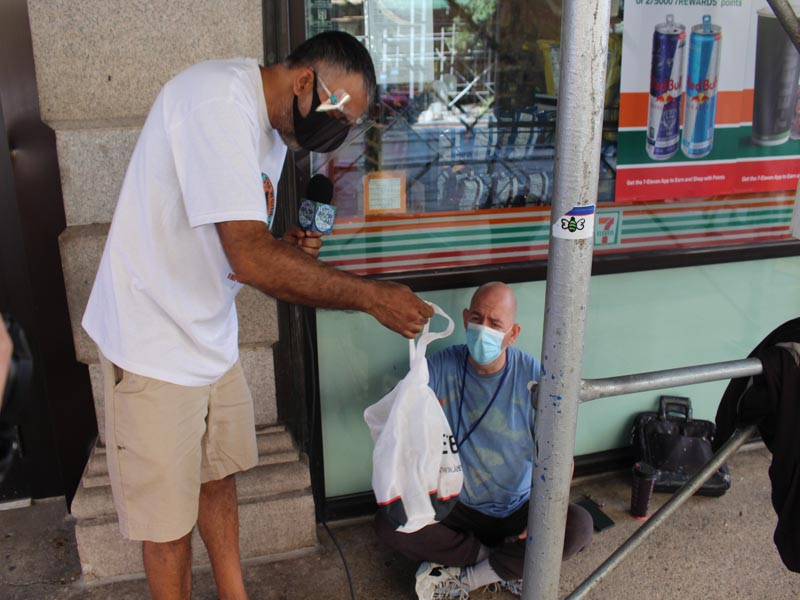 Giving Bag to Chris Drug Addict & Homeless