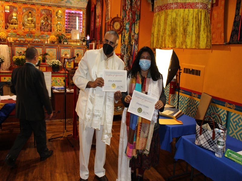 Dr.Abbey & Farida Yesmin holding up awards presented by State Senator John Liu