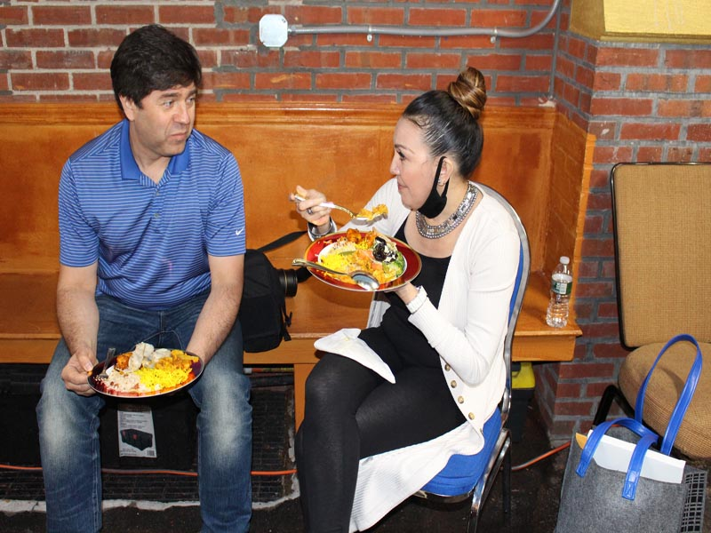 Hotw Volunteers enjoying dinner